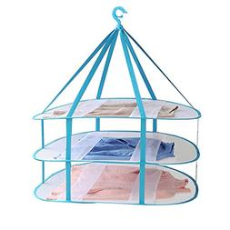 Adwaita Large Size 3-Tier Folded Mesh Clothes Hanging Dryer