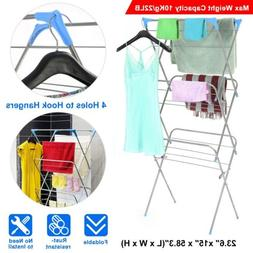 3 Tier Folding Drying Rack Stainless Laundry Organizer Cloth