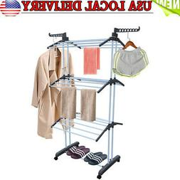 3 Tier iron Laundry Organizer Folding Drying Rack Clothes Dr