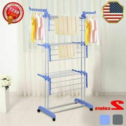 3 Tier Laundry Organizer Folding Drying Rack Clothes Dryer H