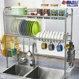 3 Tier Over The Sink Dish Drying Rack Shelf Stainless Kitche