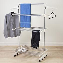 3 Tier Rolling Drying Rack Made w/ Stainless Steel and Plast