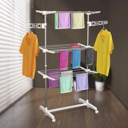 3 Tier Stainless Organizer Folding Drying Rack Clothes Drier