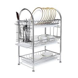 3-Tier Dish Drying Rack Dish Drainer Kitchen Storage Organiz