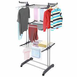 3 Tier Steel Clothes Drying Rack Folding Laundry Dryer Hange