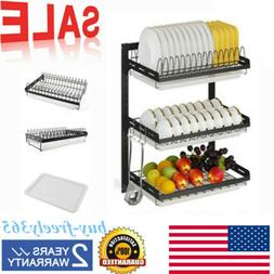 3 Tier Wall Dish Drying Rack Organizer Home Kitchen Shelf Dr