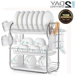 3 Tiers Dish Drying Drainer Rack Kitchen Storage with Drainb