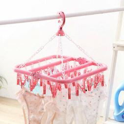 32 Clips Foldable Hanger Underwear Hanging Bra Socks Drying