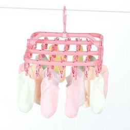 32 Clips Socks Drying Rack Hanging Folding Laundry Underwear