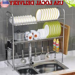 "34"" Stainless Steel Over Sink Dish Drying Rack Bowl Shelf Ki"