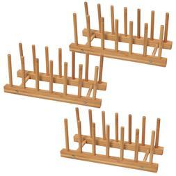 3Pcs Yardeen Bamboo Dish Drying Rack Water Cup Drain tray Pl