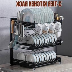 3Tier Dish Drying Rack Holder Shelf Storage Cup Drainer Stra