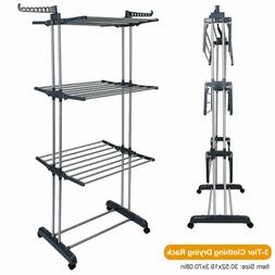 3Tier Stainless Folding Clothes Drying Rack Laundry Organize