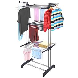 3Tier Stainless Laundry Organizer Folding Drying Rack Clothe