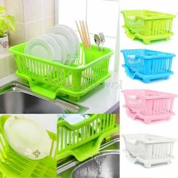 4-Color Kitchen Dish Sink Drainer Drying Rack Wash Holder Ba