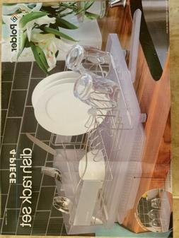 Polder 4 Piece Dish Rack Set Slide Out Drying Tray, Clear
