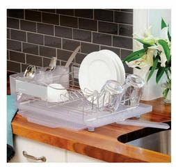 Polder 4 Piece Dish Rack Set Slide Out Drying Tray, Clear -