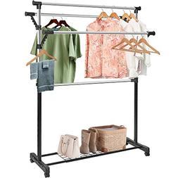 Clothing Garment Rack Adjustable Rolling Commercial Grade He