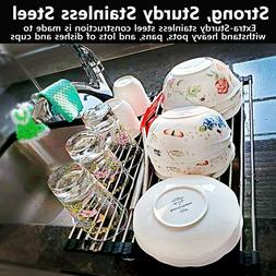 304-Stainless Steel Roll-Up Dish Drying Rack Water Drainer