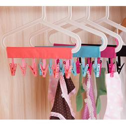 6 Clips PP Rack Clothes Socks Shirts Folding Hanging Laundry