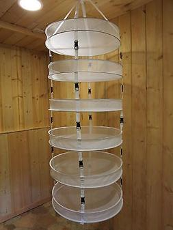 6 Layer Dry Net w Clip-On Levels ~ Herb Drying Rack 4 ft lon