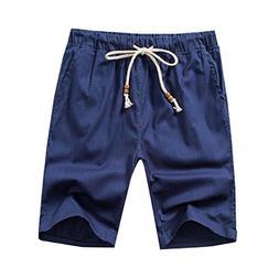 BSTBUWIN Men's Drawstring Linen Textured Bechwear Swim Trunk