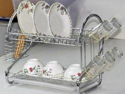 Chrome 2 Tiers Dish Drying Rack Drainer Dryer Tray Kitchen R