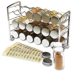 DecoBros Spice Rack Stand holder with 18 bottles and 48 Labe