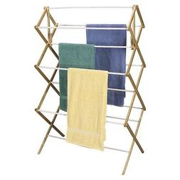 Household Essentials Folding Clothes Drying Rack, Wood Frame
