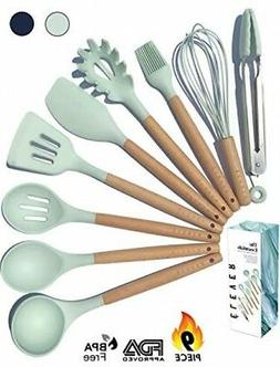 Kitchen Utensil Set - 9 Silicone Cooking Utensils for Non-st