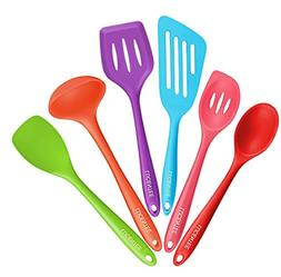 Lucentee 6-Piece Silicone Cooking Set - 2 Spoons, 2 Turners,