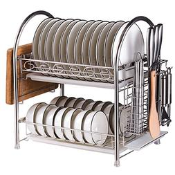 MOTONG Two Tier Stainless Steel Kitchen Cabinet Dish Drying