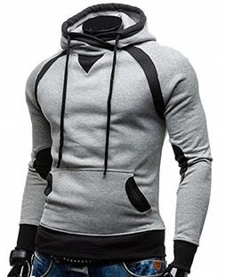 New Ornament Handsome Mens Contrast Long Sleeve Pullover Hoo