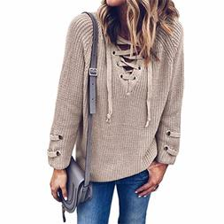 New Women V Neck Knitted Lace-up Sweater Striped Bandage Cro