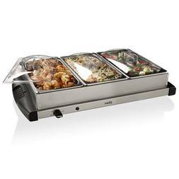Oster Buffet Server, Triple Tray, 2-1/2 Quart, Stainless Ste