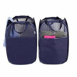 StorageManiac Foldable Pop-Up Mesh Hamper, Laundry Hamper wi