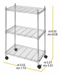 Whitmor Supreme 3 Tier Cart - Rolling Utility Organizer - Ch
