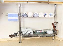 Adjustable 2 Tier Stainless Steel Dish Drying Rack Set - Inc