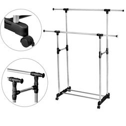 Adjustable Clothes Drying Rack Double Portable Hanger Rollin