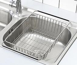 Adjustable Dish Drying Rack Over Sink 18/8 Stainless Steel D