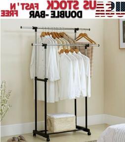 Adjustable Double Rail Garment Rack Clothes Rack Heavy Duty