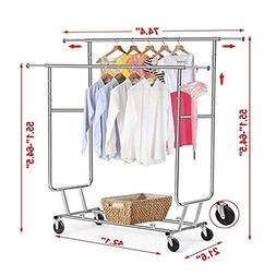 Adjustable Double Clothes Rail with Wheels,Garment Rack, Chr