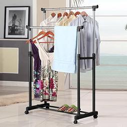 ALPHA HOME Double Rail Garment Rack Adjustable Rolling Cloth