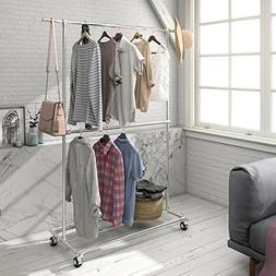 Lifewit Adjustable Double Rods Garment Rack Storage Base Sho