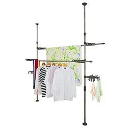 BAOYOUNI Adjustable Indoor Garment Rack DIY Coat Clothes Han