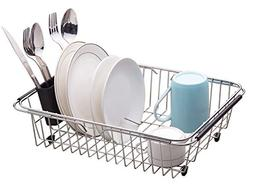 Adjustable Large Over Sink Dish Rack Dish Drying Rack, Stain