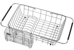 Adjustable Over the Sink Dish Drainer Dish Drying Rack, Stai