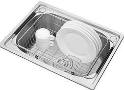 Adjustable Over Sink Dish Drying Rack Stainless Steel Dish D