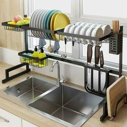Adjustable Over The Sink Dish Drying Rack Drainer Shelf Uten