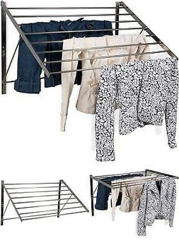 Adjustable Wall Mount Laundry Rack Clothes Drying Rod Space